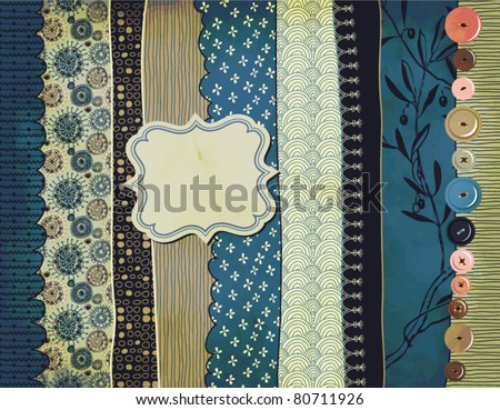 Gypsy Background with patterned scraps, clothing buttons and label (hand drawn) - stock vector