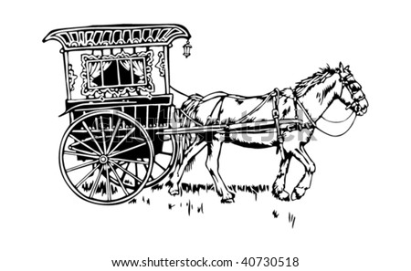 Gypsy or Romani wagon- vardo - stock vector