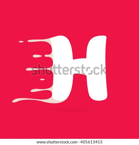 H letter logo made of milk. Vector design template elements for your poster or corporate identity. - stock vector