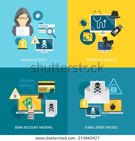 Hacker activity computer and e-mail spam viruses bank account hacking flat icons set isolated vector illustration - stock vector
