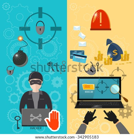 Hacker activity computer bank account hacking e-mail spam viruses banners - stock vector