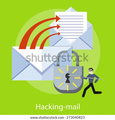 Hacker activity viruses hacking and e-mail spam. Computer crime in flat design. Criminal using computer to commit crime. For web banners, marketing and promotional materials, presentation templates  - stock vector