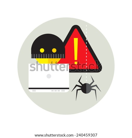 hacker activity viruses hacking and e-mail spam flat - stock vector