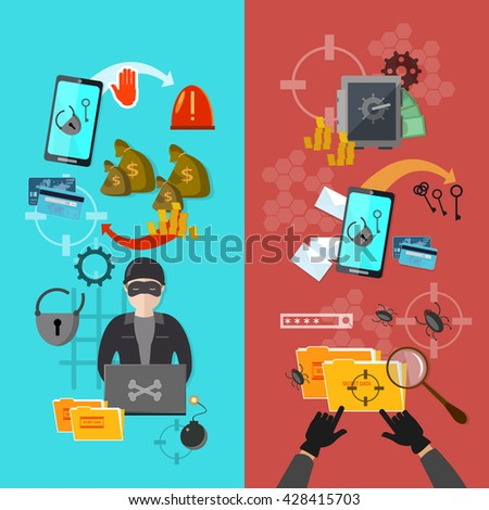 Hacker attack activity banner mobile phone hacking protecting computer vector illustration - stock vector