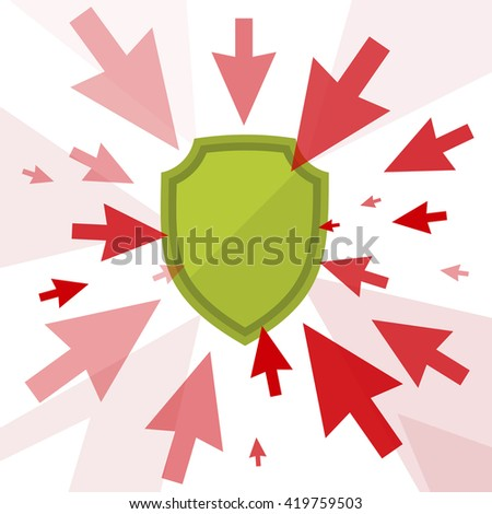 Hacker attack and secure digital technology concept. Vector flat illustration of cursors and shield. Computer pointers attack, guard protects data. Design element for brochure, banner, social networks - stock vector