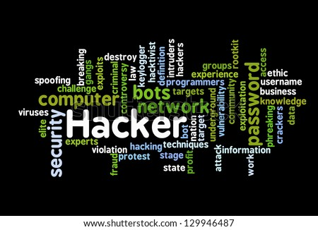 Hacker Attack - Word Cloud on black background - stock vector