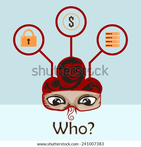 Hacker eye, thinking about symbol of lock,dollar and data - stock vector
