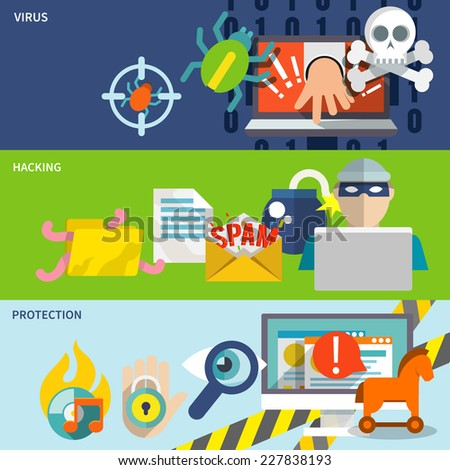 Hacker flat banner set with hacking virus protection isolated vector illustration - stock vector