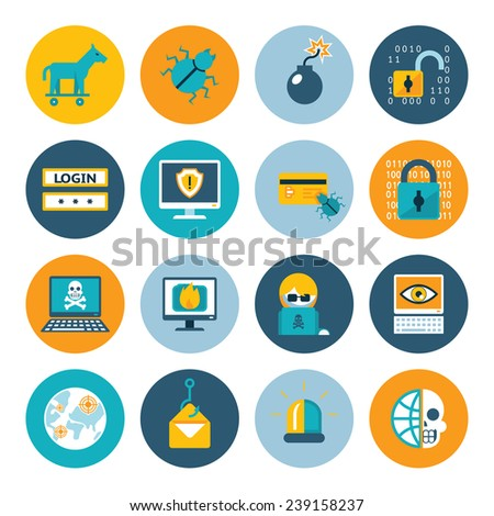 Hacker flat icons. Badges in colorful circles on a white background. Vector illustration - stock vector
