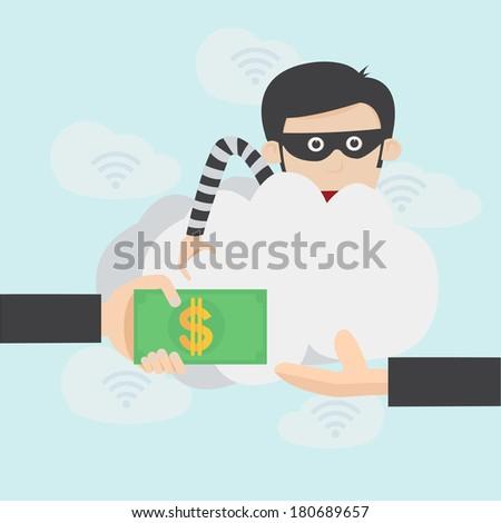 Hacker steal money over the online internet  - stock vector
