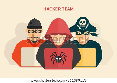 Hacker team - hacker, pirate, scammer - isolated flat vector illustration. - stock vector