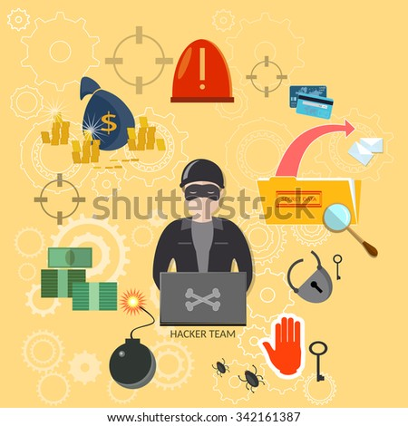 Hacker with laptop bank account infecting files data theft computer hacking mailing virus vector - stock vector