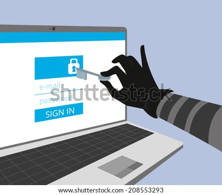 Hacking account of social networking. Thief hand hold a key and trying to hack the security of website using online authorization form with e-mail and password - stock vector