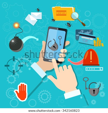 Hacking mobile smartphone in hand stealing passwords account theft spamming viruses - stock vector