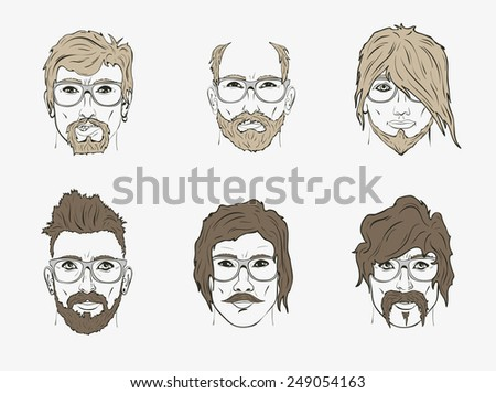 hair and beard on the sketch of a human face - stock vector