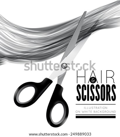Hair and scissors on a white background - stock vector