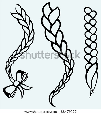 Hair braided. Isolated on blue background - stock vector
