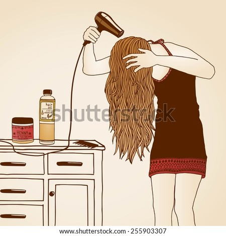 Hair care illustration No. 2/3 (colored) - stock vector