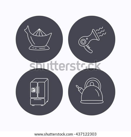 Hair-dryer, teapot and juicer icons. Refrigerator fridge linear sign. Flat icons in circle buttons on white background. Vector - stock vector