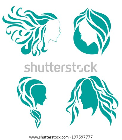 Hair fashion icon symbol of female beauty - stock vector