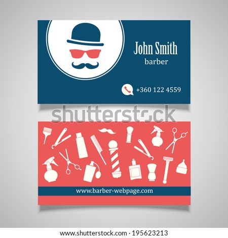 Hair salon barber Business Card design template - stock vector
