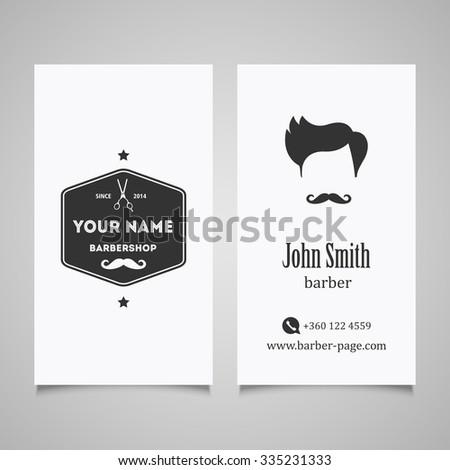 Hair salon barber shop Business Card design template. - stock vector