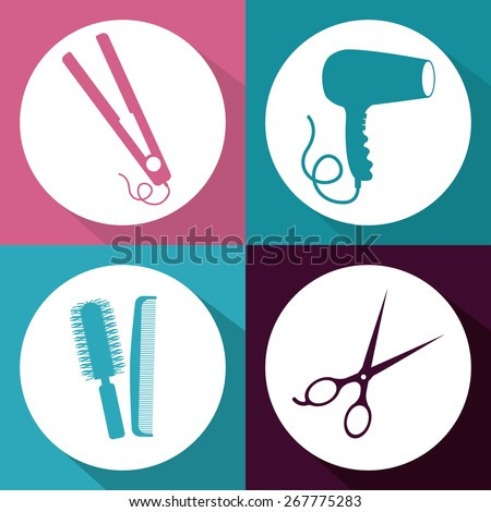 Hair Salon design over multicolored background, vector illustration - stock vector