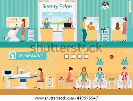 Hair salon interior building with customer, hairdresser fashion model,vector illustration. - stock vector