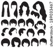 hair silhouettes, woman and man hairstyle - stock vector