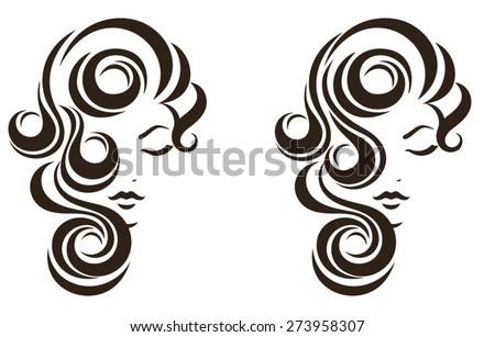 Hair stile icon, female face, vector logo design - stock vector