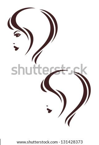 Hair stile icon, woman's profile, haircut logo - stock vector
