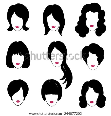 Hair style set. Woman profiles. Girl silhouettes collection. Female beauty icons. - stock vector