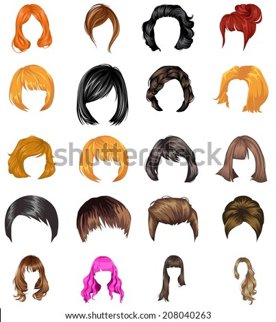 Hair styles collection vector - stock vector