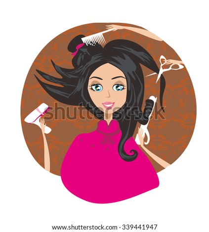 hair stylist work on woman hairstyle  - stock vector