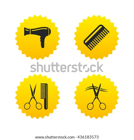 Hairdresser icons. Scissors cut hair symbol. Comb hair with hairdryer sign. Yellow stars labels with flat icons. Vector - stock vector