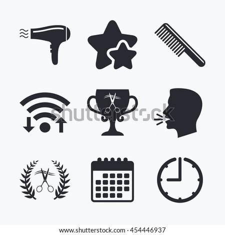Hairdresser icons. Scissors cut hair symbol. Comb hair with hairdryer symbol. Barbershop laurel wreath winner award. Wifi internet, favorite stars, calendar and clock. Talking head. Vector - stock vector