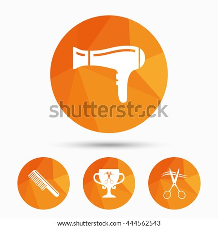 Hairdresser icons. Scissors cut hair symbol. Comb hair with hairdryer symbol. Barbershop winner award cup. Triangular low poly buttons with shadow. Vector - stock vector