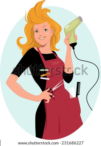 Hairdresser posing with a hair dryer and scissors, vector illustration - stock vector