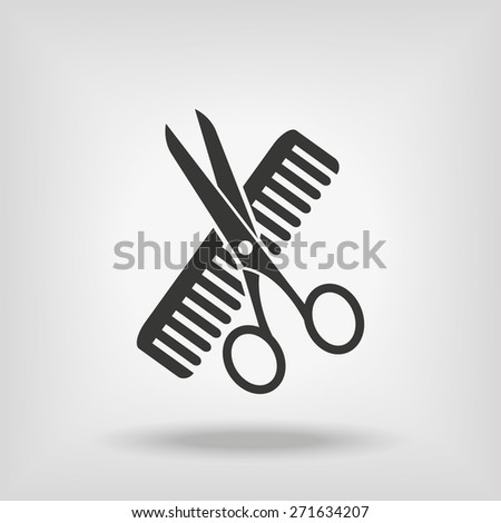 Hairdresser Scissors And Comb - stock vector