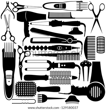 Hairdressing related symbol. Vector set of accessories for hair. - stock vector