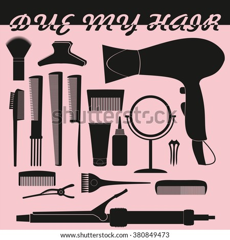 Hairdressing related symbol. Vector set of accessories for hair.Hair styling tools set. Black and white icons. Hairbrush, comb, hairdryer, hair curler, hair straightener, mirror, hairpins silhouettes - stock vector