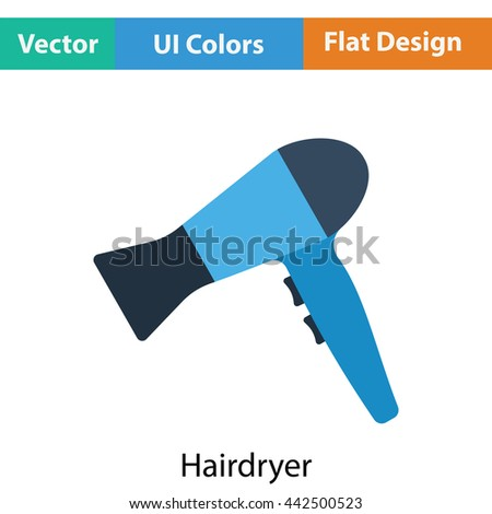 Hairdryer icon. Flat color design. Vector illustration. - stock vector
