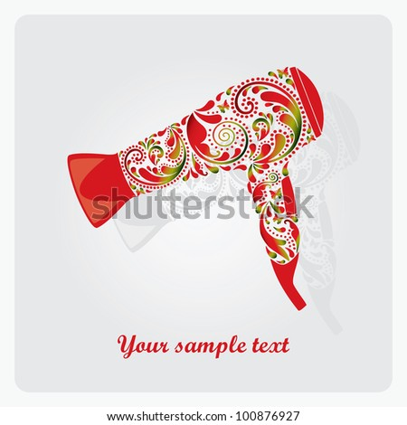 Hairdryer made ??from leaf pattern. - stock vector