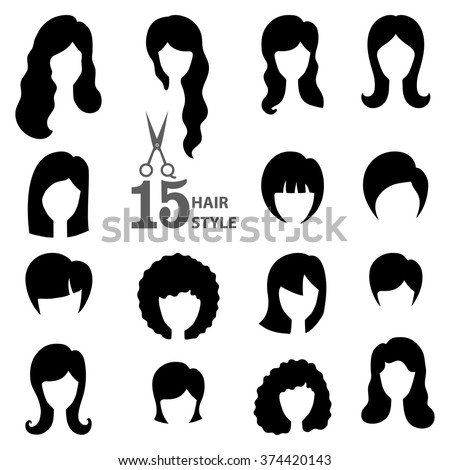 Hair Style Icons : hair.Beauty Vector,flat black icons.Beautiful style,avatars,fashion ...