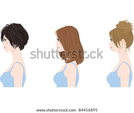 Hairstyle / Woman - stock vector