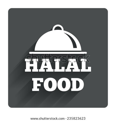 Halal food product sign icon. Natural muslims food symbol. Gray flat square button with shadow. Modern UI website navigation. Vector - stock vector