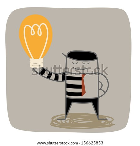 half business man half thief steal others idea - stock vector