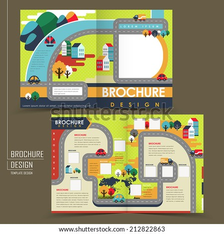 half-fold template of colorful flat design town for business advertising brochure - stock vector