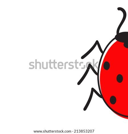 Half ladybug isolated on white - stock vector