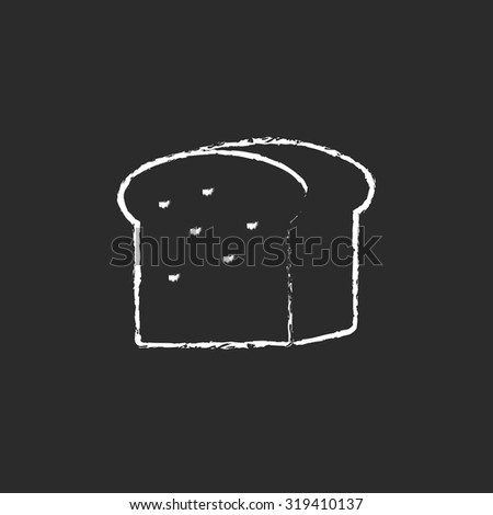 Half loaf of bread hand drawn in chalk on a blackboard vector white icon isolated on a black background. - stock vector